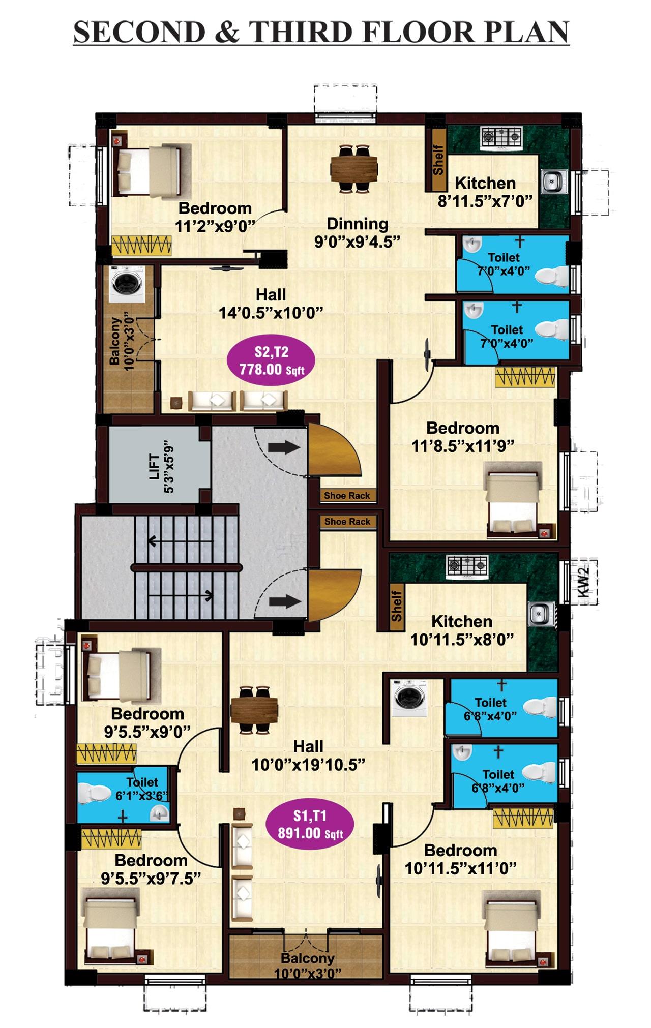 jkb-siddharth-enclave-2nd-3rd-floor-plan